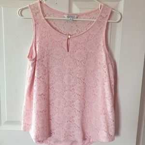 Ellen Tracy ballet pink lace top, size M